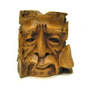 バンブーの根のアートマスク 灰皿 I [H約25cm] アジアン雑貨 バリ雑貨 エスニック 変わった灰皿|angkasa