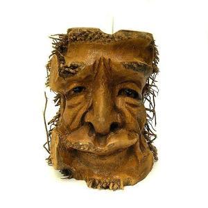バンブーの根のアートマスク 灰皿 J [H約25cm] アジアン雑貨 バリ雑貨 エスニック 変わった灰皿|angkasa