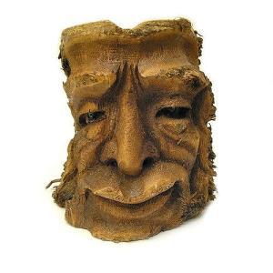 バンブーの根のアートマスク 灰皿 L [H約25cm] アジアン雑貨 バリ雑貨 エスニック 変わった灰皿|angkasa