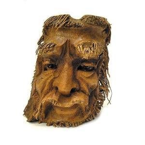 バンブーの根のアートマスク 灰皿 M [H約25cm] アジアン雑貨 バリ雑貨 エスニック 変わった灰皿|angkasa