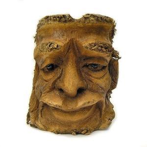 バンブーの根のアートマスク 灰皿 O [H約25cm] アジアン雑貨 バリ雑貨 エスニック 変わった灰皿|angkasa