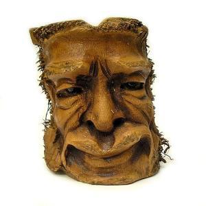 バンブーの根のアートマスク 灰皿 P [H約25cm] アジアン雑貨 バリ雑貨 エスニック 変わった灰皿|angkasa