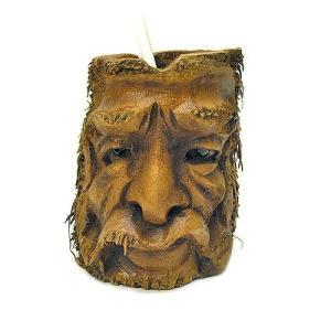 バンブーの根のアートマスク 灰皿 Q [H約25cm] アジアン雑貨 バリ雑貨 エスニック 変わった灰皿|angkasa