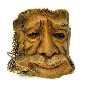 バンブーの根のアートマスク 灰皿 R [H約25cm] アジアン雑貨 バリ雑貨 エスニック 変わった灰皿|angkasa