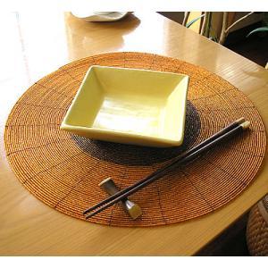 ビーズのランチョンマット オレンジ アジアン雑貨 バリ雑貨 タイ エスニック おしゃれなテーブルマット インテリアマット|angkasa