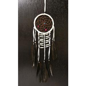 ドリームキャッチャー インディアンタイプ 白 全長50cm 円直径12cm アジアン雑貨 バリ雑貨|angkasa