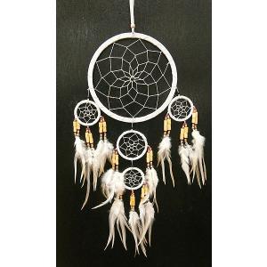 ドリームキャッチャー 白 インディアンビーズ 全長65cm直径16cm アジアン雑貨 バリ雑貨|angkasa