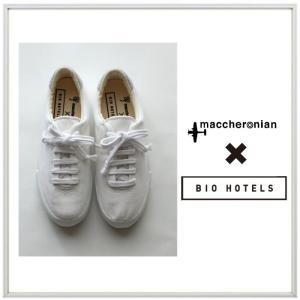★maccheronian×BIO HOTEL(マカロニアン×ビオホテル)スムースカーフ レザー スニーカー COLOR:ホワイト|angland