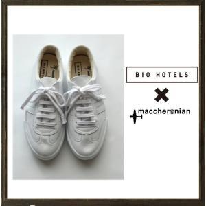 ★maccheronian×BIO HOTEL マカロニアン×ビオホテル レザー ローカットスニーカー COLOR:ホワイト×ホワイト|angland
