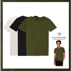 SCOTCH&SODA(スコッチ&ソーダ)ポケット 無地Tシャツ color: ホワイト・ミリタリーグリーン・ブラック|angland