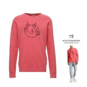 SCOTCH&SODA (スコッチ&ソーダ)胸プリント FELIX P/Oトレーナー color:PINK(ピンク)|angland