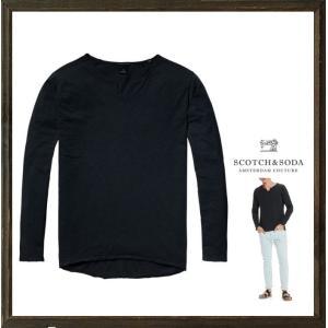 SCOTCH&SODA スコッチ&ソーダ 襟スリット・長袖Tシャツ color:Antra/NAVY(ダーク・ネイビー)|angland