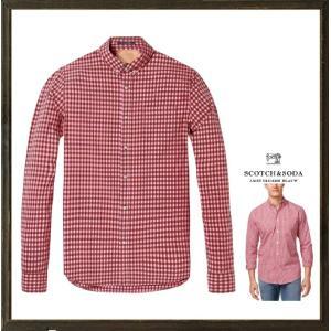 SCOTCH&SODA【 スコッチ&ソーダ 】Gingham Shirt ギンガムチェック柄・ボタンダウン・長袖ブラウス COLOR:【 RED 】レッド&ピンク系チェック柄 angland