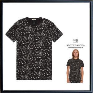 SCOTCH&SODA(スコッチ&ソーダ)フロント&バック アート・クルーネック・Tシャツ color:BLACK(ブラック) angland
