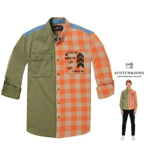 SCOTCH&SODA(スコッチ&ソーダ)デニムコットン バイカラー 長袖ブラウス COLOR:オレンジチェック系×カーキー angland