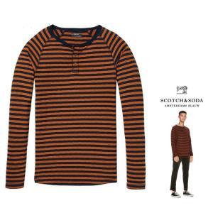 SCOTCH&SODA(スコッチ&ソーダ)ヘンリーネック ボーダー柄 長袖Tシャツ color:BROWN×NAVY(ブラウン×ネイビー)ボーダー柄|angland