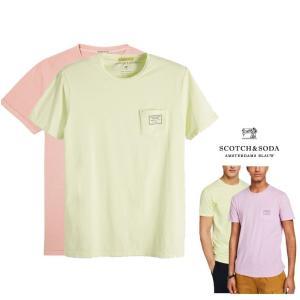 SCOTCH&SODA(スコッチ&ソーダ) ポケットロゴ Tシャツ color:Purple Haze(ピンク) Limoncello(ライムグリーン)|angland