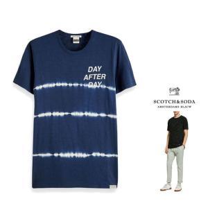 SCOTCH&SODA(スコッチ&ソーダ) タイダイプリント クルーネック Tシャツ color:NAVY(ネイビー)|angland