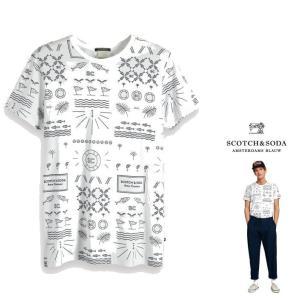 ★SCOTCH&SODA(スコッチ&ソーダ) マウイプリント クルーネック Tシャツ color: WHITE(ホワイト)|angland