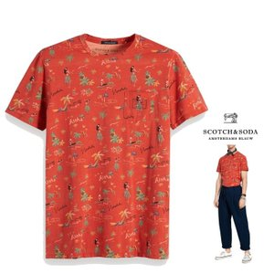 SCOTCH&SODA(スコッチ&ソーダ) マウイプリント クルーネック Tシャツ color:ORANGE(オレンジ)|angland