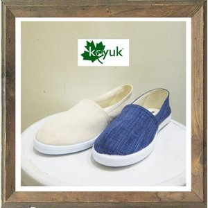 KOYUK(カヤック / コユック) 綿麻 スリッポン ドライビングシューズ color:ROYAL BLUE(ブルー) OFF WHITE(オフホワイト) angland