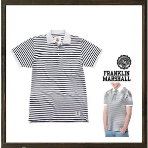 FRANKLIN MARSHALL(フランクリン マーシャル) 細ボーダー柄 半袖 ポロシャツ color:OLD WHITE(ホワイト×ブラック) angland