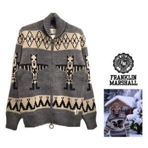 FRANKLIN MARSHALL (フランクリン マーシャル) カナディアン カウチン ニットジャケット color:グレー angland