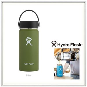 HYDRO FLASK(ハイドロ フラスク)16オンス HYDRATION(16 oz Wide Mouth) color:08 OLIVE(オリーブ)|angland