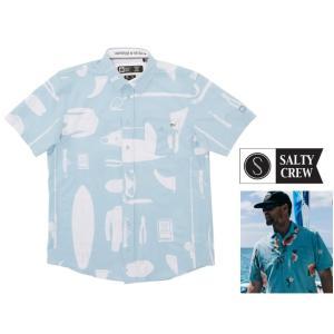 SALTY CREW(ソルティークルー) アロハシャツ 半袖ブラウス Salty Utility S/S Tech Woven color:SEA BLUE(ブルー×ホワイト)|angland