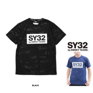 SY32 by SWEET YEARS BIGスクエア ロゴ カモフラージュ柄 半袖Tシャツ COLOR:BLACK(ブラック)|angland