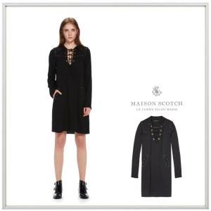 MAISON SCOTCH メゾンスコッチ Lace-Up Tencel Dress Vレースアップ 膝丈ワンピース color:BLACK(ブラック) angland