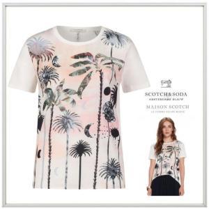 MAISON SCOTCH メイソンスコッチ ヤシの木 プリント 半袖Tシャツ COLOR: WHITE (ホワイト) angland