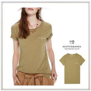 MAISON SCOTCH(メイソンスコッチ) 胸ロゴ 半袖Tシャツ COLOR:Crocodile Melange(ライトグリーン) angland