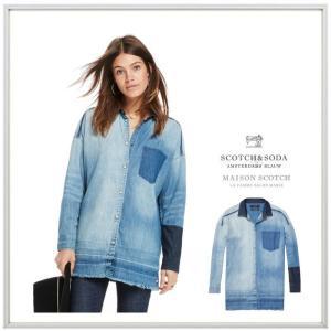 MAISON SCOTCH メゾンスコッチ Customized Denim Shirt BIGデニムシャツ color: INDIGO(インディゴ)|angland