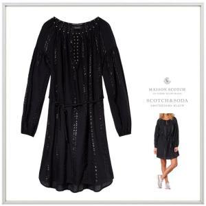 MAISON SCOTCH メゾンスコッチ Sheer Lurex Tunic Dress シアールレックス チュニックドレス color:BLACK(ブラック)|angland