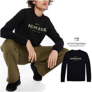 SCOTCH&SODA ロゴ トレーナー Club Nomade sweater COLOR:BLACK(ブラック)|angland