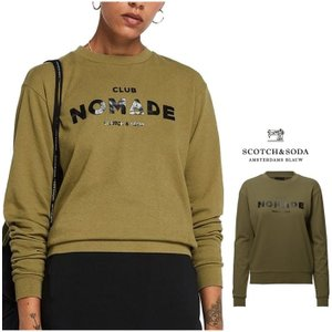 SCOTCH&SODA ロゴ トレーナー Club Nomade sweater Color:GREEN(グリーン)|angland