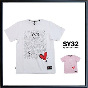 SY32 by SWEET YEARS コラボ ハートロゴ 半袖Tシャツ|angland