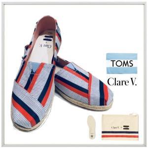 TOMS×Clare V.(トムズ×クレア ヴィヴィエ)LADY'S Classics キャンバス クラシック color:レッド×ネイビーストライプ|angland