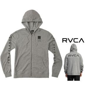 ★RVCA ルーカ ZIP-UP HOODIE バックプリント&胸&袖ロゴ ZIPパーカー Color:GRS グレー angland