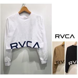 RVCA(ルーカ) ロゴ ショート丈 長袖Tシャツ color:WHT(ホワイト) BLK(ブラック) BEG(ベージュ)|angland