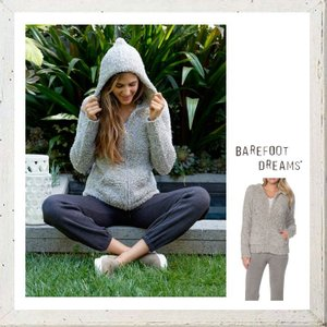 Barefoot Dreams(ベアフット・ドリームス) COZY CHIC  ZIPパーカー color:DOVE Grey-White(グレー)|angland
