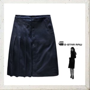 G-STAR RAW(ジースターロウ)プリーツ切替スカート color:Mazarine Blue(ネイビー)|angland