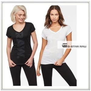 G-STAR RAW ロゴ 半袖 VネックTシャツ color:DK BLACK(ブラック)・ WHITE(ホワイト) angland