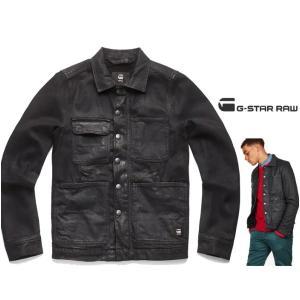 G-STAR RAW(ジースターロウ) オイル加工 ワークジャケット color:Medium Aged Cobler(ブラック) angland