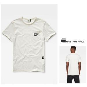 ★G-STAR RAW(ジースターロウ) 胸ポケット&ロゴ 半袖Tシャツ color:Milk(オフホワイト)|angland