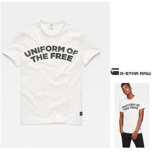 G-STAR RAW(ジースターロウ) Graphic 23 T-Shirt 胸ロゴ 半袖Tシャツ color:Milk(オフホワイト)|angland