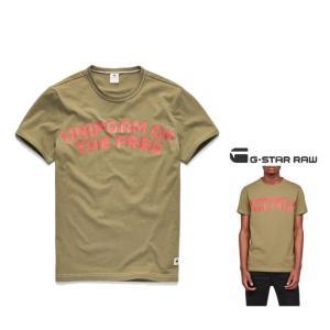 G-STAR RAW(ジースターロウ) Graphic 23 T-Shirt 胸ロゴ 半袖Tシャツ color:Sage(カーキグリーン)|angland