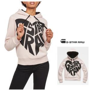 G-STAR RAW(ジースターロー) スウェット ロゴ フード&プルオーバー color:Pyg(ナチュラルピンク)|angland