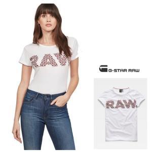 G-STAR RAW(ジースターロー) BIG-RAWロゴ 半袖 クルーネックTシャツ color:White/Sartho Blue(ホワイト×ネイビー)|angland|05